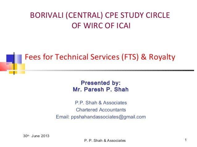WIRC Study Circle - Course on Intl Taxation-FTS & Royalty - 27.06.2013