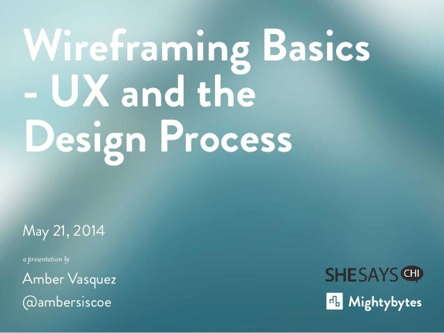 a presentation by May 21, 2014 Amber Vasquez @ambersiscoe Wireframing Basics - UX and the Design Process