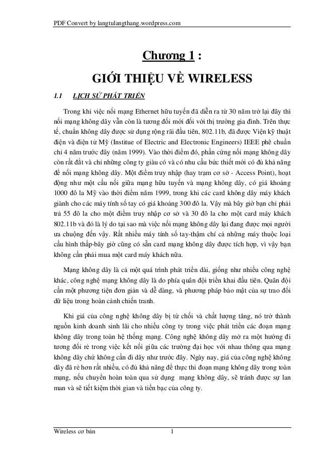 PDF Convert by langtulangthang.wordpress.com                               Chương 1 :             GIỚI THIỆU VỀ WIRELESS1....