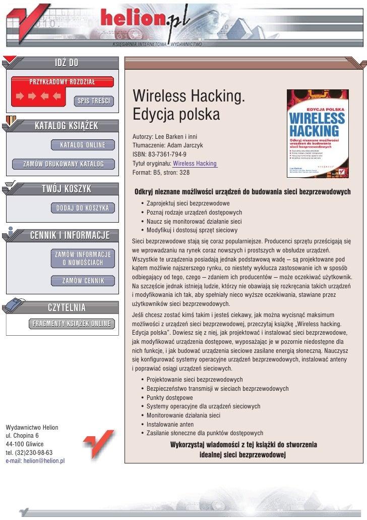 IDZ DO          PRZYK£ADOWY ROZDZIA£                             SPIS TRE CI   Wireless Hacking.                          ...