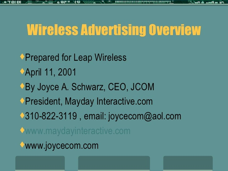 Mobile Advertising Overview by Joyce Schwarz