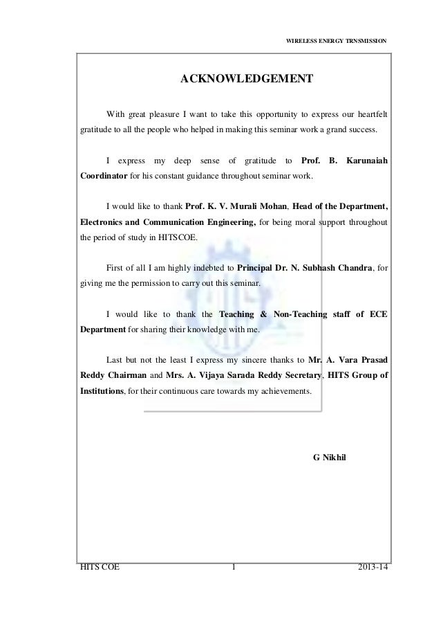 WIRELESS ENERGY TRNSMISSION HITS COE 1 2013-14 ACKNOWLEDGEMENT With great pleasure I want to take this opportunity to expr...