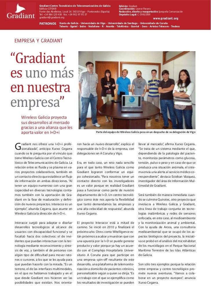 Gradiant Centro Tecnolóxico de Telecomunicacións de Galicia           Edición: Gradiant                  Edificio CITEXVI  ...