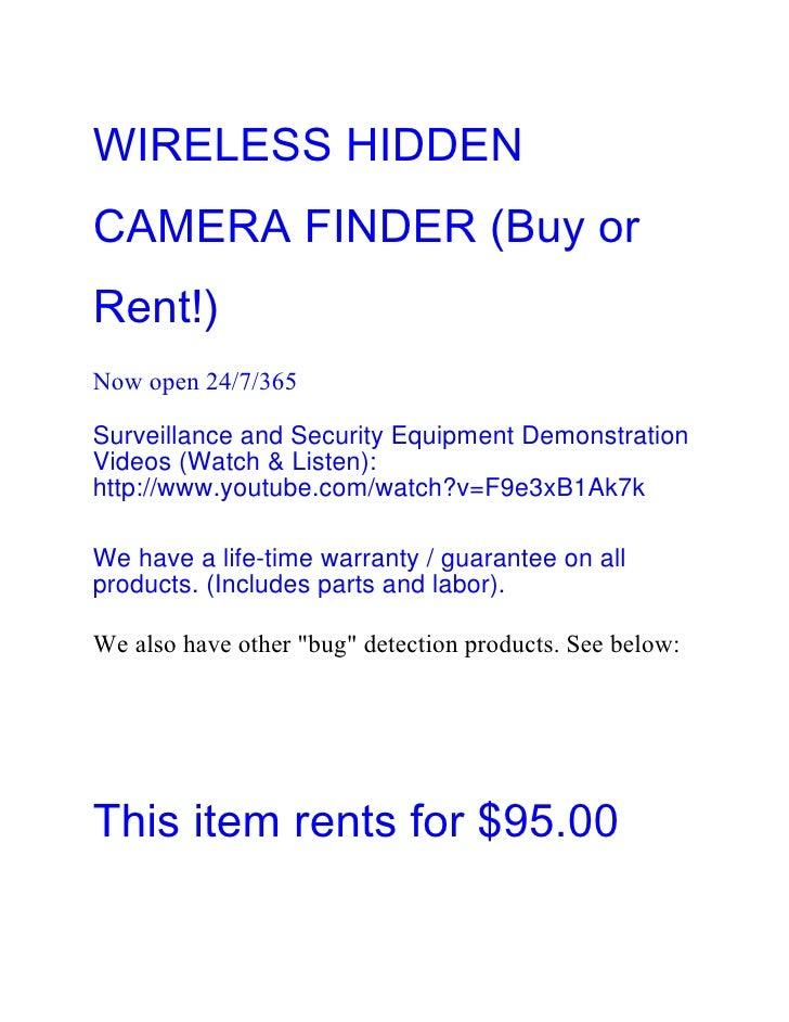 WIRELESS HIDDENCAMERA FINDER (Buy orRent!)Now open 24/7/365Surveillance and Security Equipment DemonstrationVideos (Watch ...