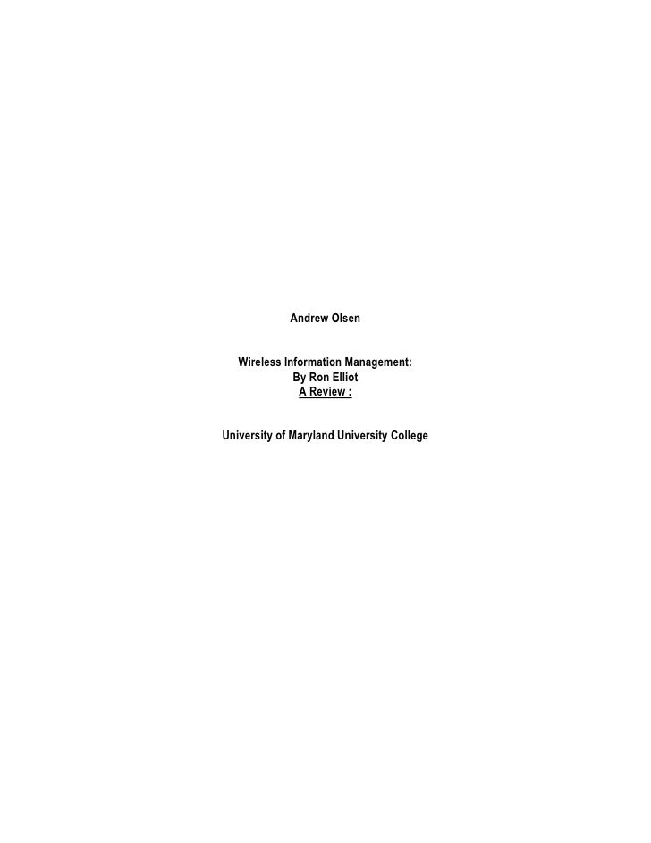 Wireless information management, a review