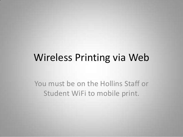 Wireless printing via web