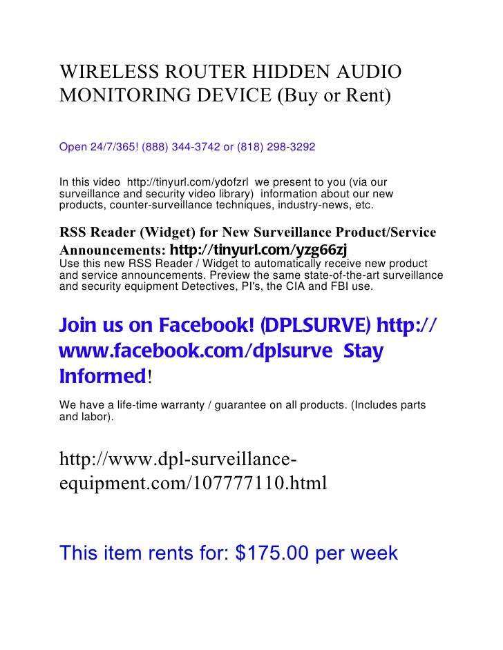 WIRELESS ROUTER HIDDEN AUDIOMONITORING DEVICE (Buy or Rent)Open 24/7/365! (888) 344-3742 or (818) 298-3292In this video ht...