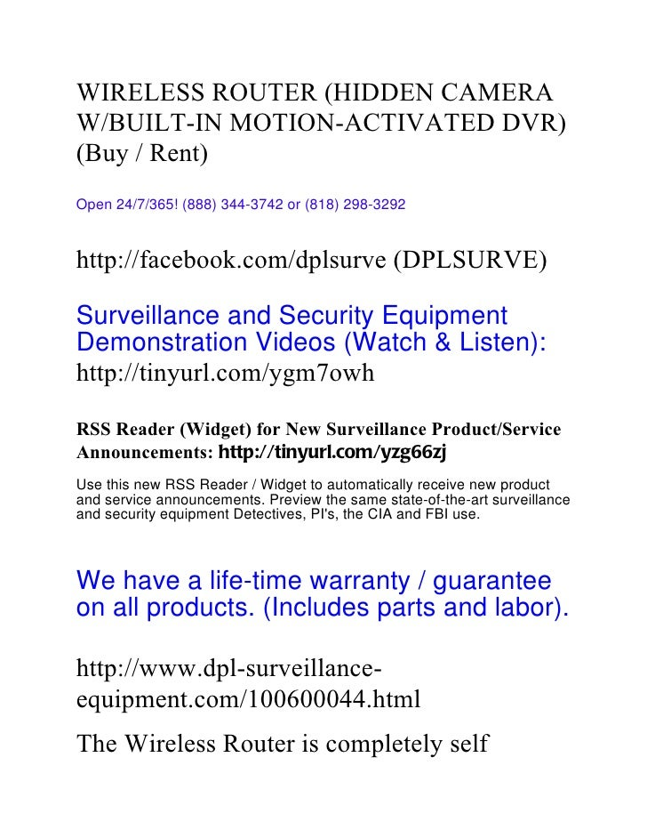 WIRELESS ROUTER (HIDDEN CAMERAW/BUILT-IN MOTION-ACTIVATED DVR)(Buy / Rent)Open 24/7/365! (888) 344-3742 or (818) 298-3292h...
