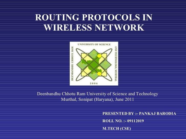 Wireless routing protocols