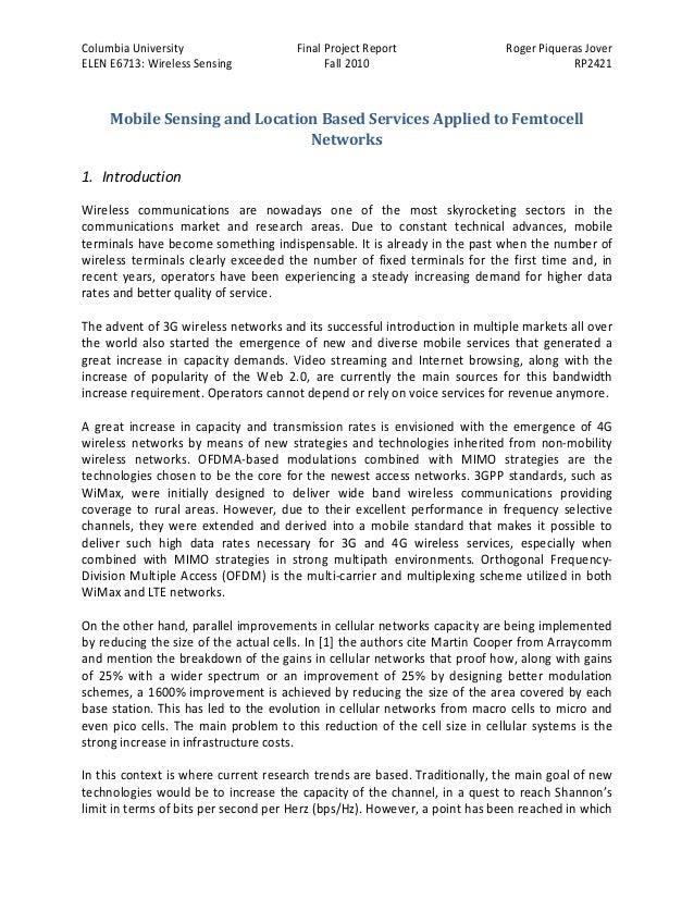 Columbia University ELEN E6713: Wireless Sensing  Final Project Report Fall 2010  Roger Piqueras Jover RP2421  Mobile Sens...