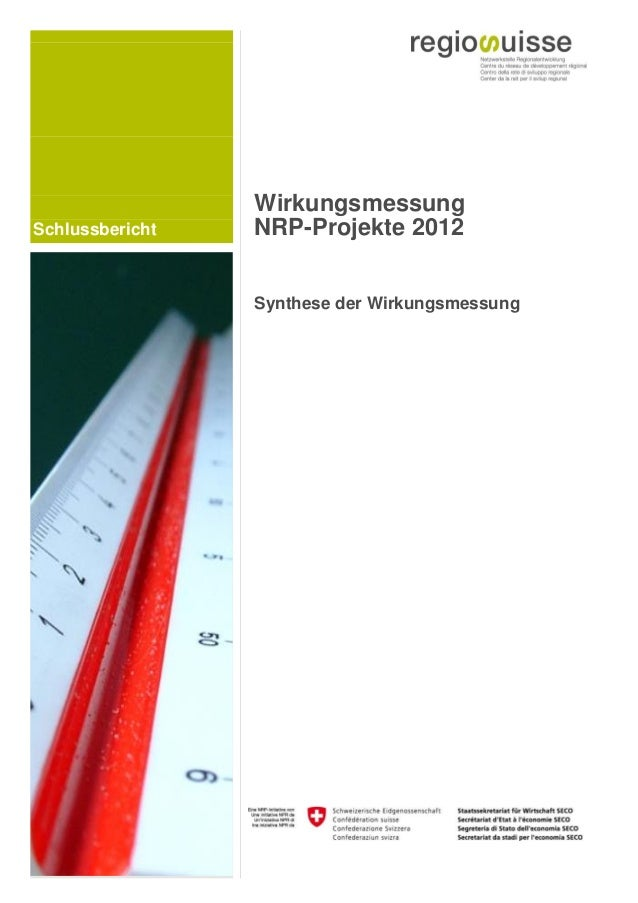 Schlussbericht Wirkungsmessung NRP-Projekte 2012 Synthese der Wirkungsmessung
