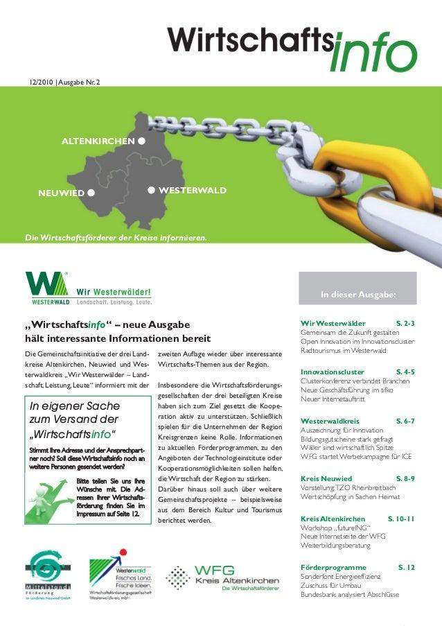 12/2010 | Ausgabe Nr. 2             ALTENKIRCHEN    NEUWIED                                     WESTERWALDDie Wirtschaftsf...