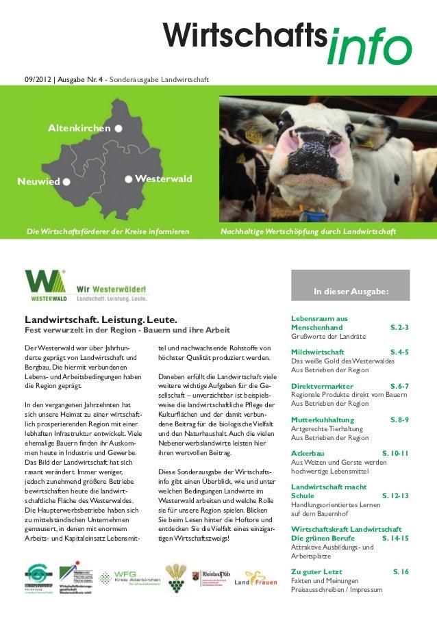 Wirtschafts 09/2012   Ausgabe Nr. 4 - Sonderausgabe Landwirtschaft                                                        ...