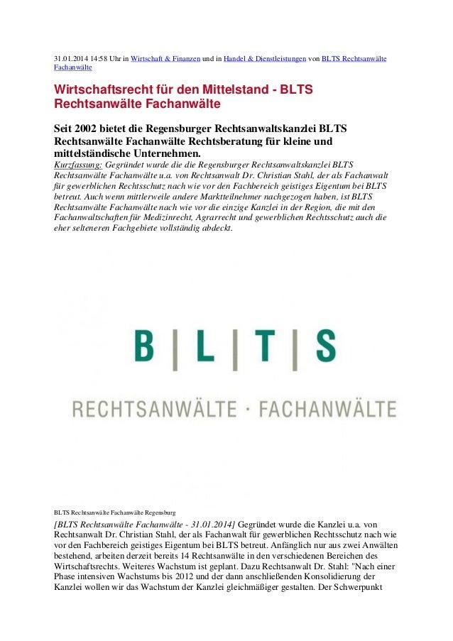 31.01.2014 14:58 Uhr in Wirtschaft & Finanzen und in Handel & Dienstleistungen von BLTS Rechtsanwälte Fachanwälte  Wirtsch...