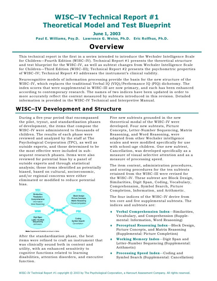 WISC–IV Technical Report #1                    Theoretical Model and Test Blueprint                                       ...