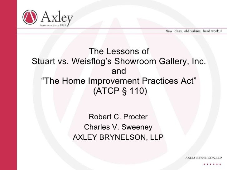 Robert C. Procter Charles V. Sweeney AXLEY BRYNELSON, LLP The Lessons of  Stuart vs. Weisflog's Showroom Gallery, Inc.  an...