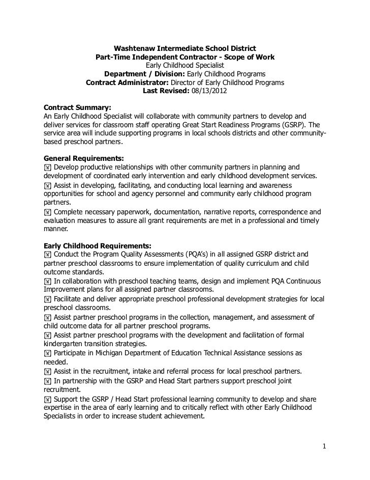 Washtenaw Intermediate School District               Part-Time Independent Contractor - Scope of Work                     ...