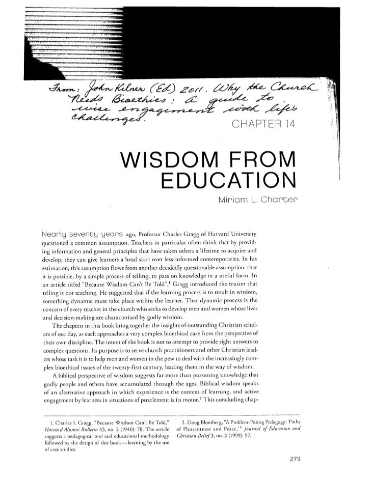 Wisdom from education, charter