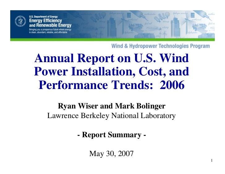 DOE 2006 Wind Energy Report U.S.