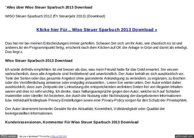 """Alles über Wiso Steuer Sparbuch 2013 Download  WISO Steuer-Sparbuch 2012 (f?r Steuerjahr 2013) (Download)                ..."