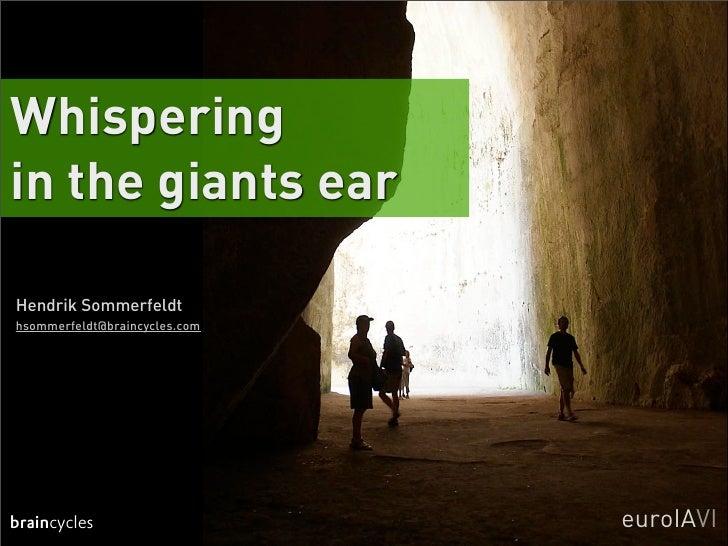Whispering in the giants ear  Hendrik Sommerfeldt hsommerfeldt@braincycles.com     braincycles                    euroIAVI