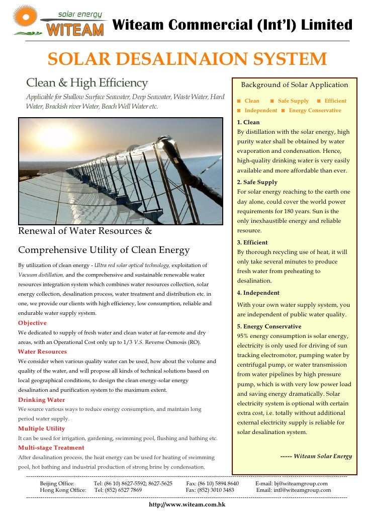 Witeam Commercial (Int'l) Limited               SOLAR DESALINAION SYSTEM    Clean & High Efficiency                       ...