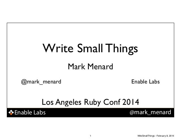 Write Small Things (Code)