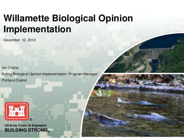 Willamette Biological Opinion Implementation - US Army Corps