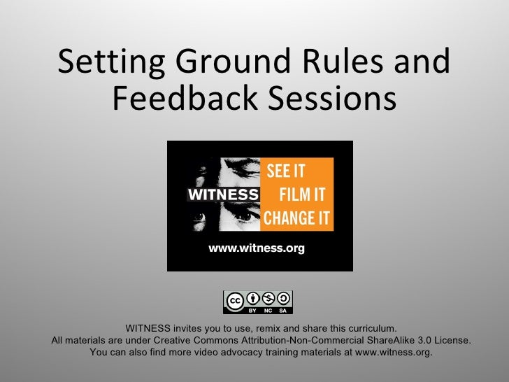 Setting Ground Rules and Feedback Sessions