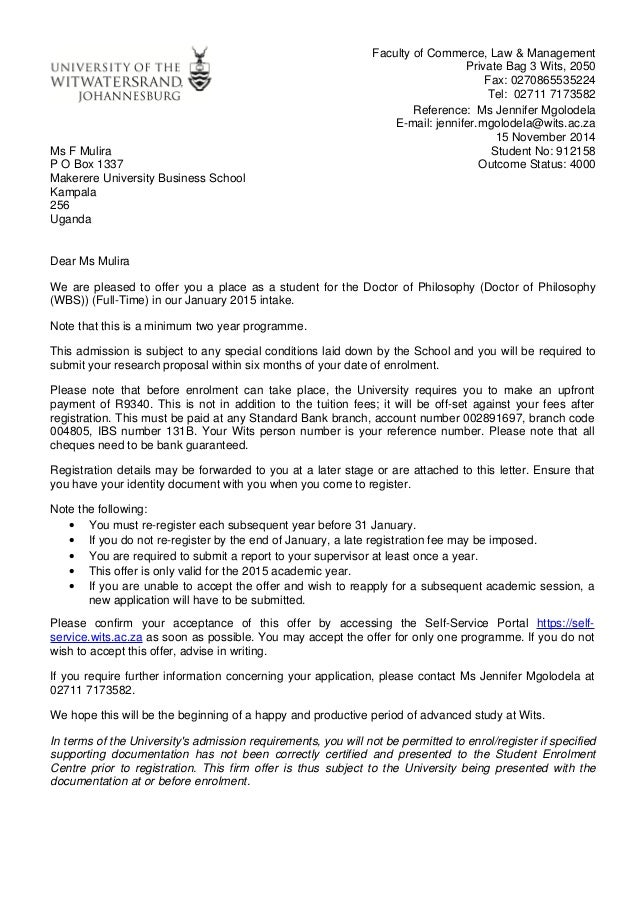 Wits Ph D Offer Letter 3