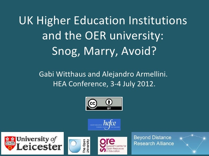 UK Higher Education Institutions    and the OER university:      Snog, Marry, Avoid?   Gabi Witthaus and Alejandro Armelli...