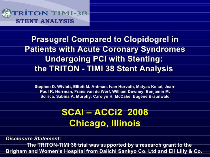 Prasugrel Compared to Clopidogrel in Patients with Acute Coronary Syndromes Undergoing PCI with Stenting:  the TRITON - TI...