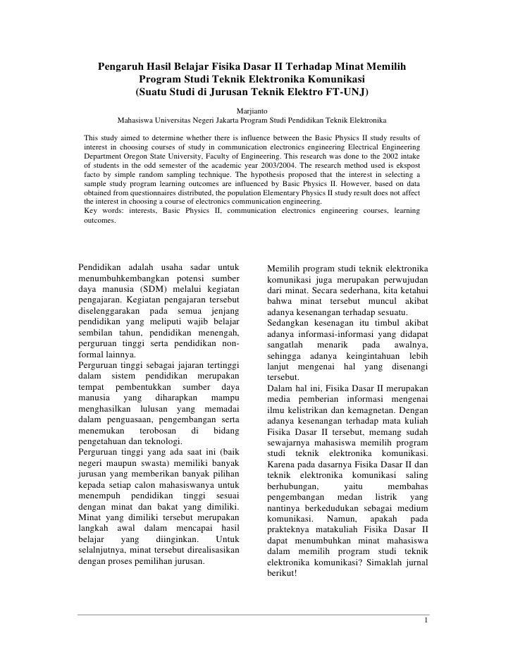 Pengaruh Hasil Belajar Fisika Dasar II Terhadap Minat Memilih             Program Studi Teknik Elektronika Komunikasi     ...