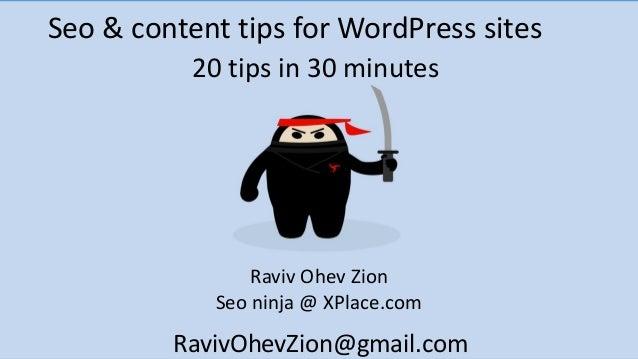 Seo & content tips for WordPress sitesRaviv Ohev ZionSeo ninja @ XPlace.com20 tips in 30 minutesRavivOhevZion@gmail.com