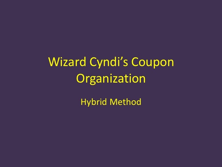 Wizard cyndi's coupon organization