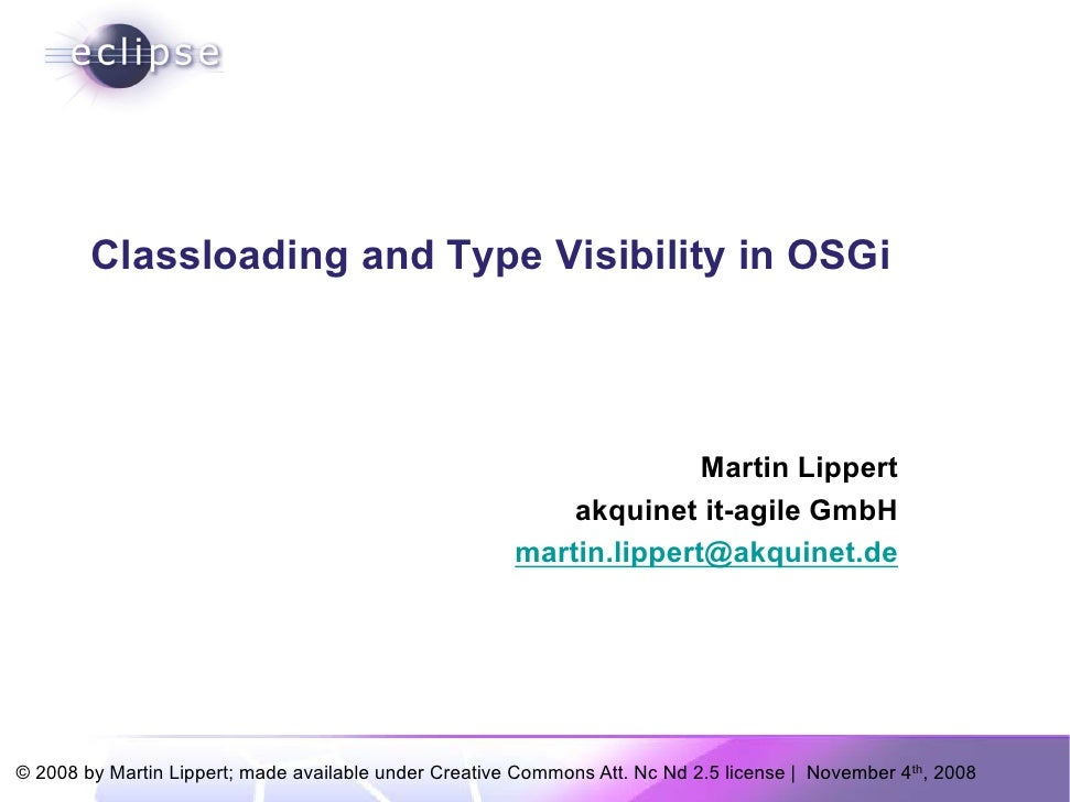 Classloading and Type Visibility in OSGi
