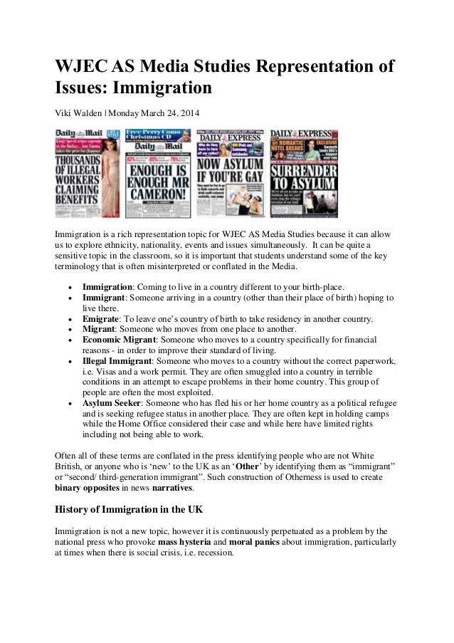 Wjec AS media studies representation of issues - immigration