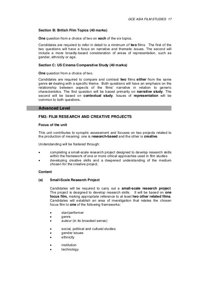 a2 film studies coursework specification Teach the wjec as and a level film studies qualification, specification, book  training, view past papers and other resources available for teachers and  students.