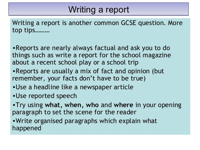Secondary school report writing