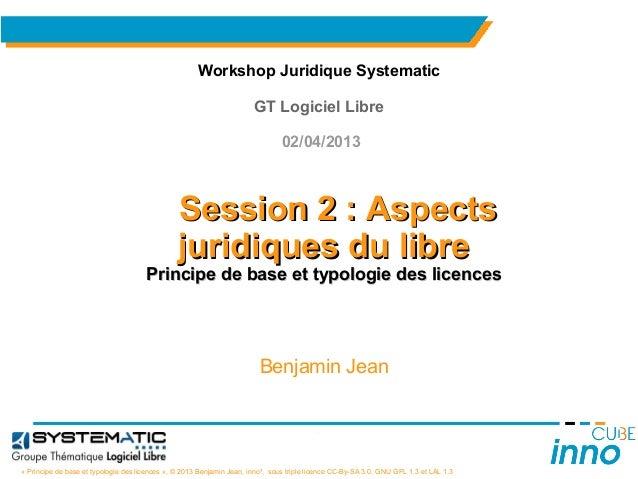 « Principe de base et typologie des licences », © 2013 Benjamin Jean, inno³, sous triple licence CC-By-SA 3.0, GNU GFL 1.3...