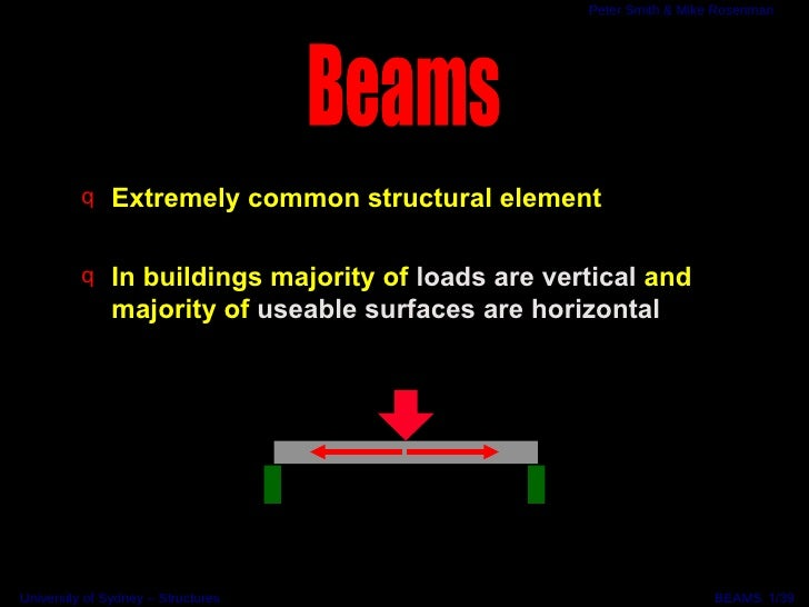 <ul><li>Extremely common structural element </li></ul><ul><li>In buildings majority of  loads are vertical  and majority o...