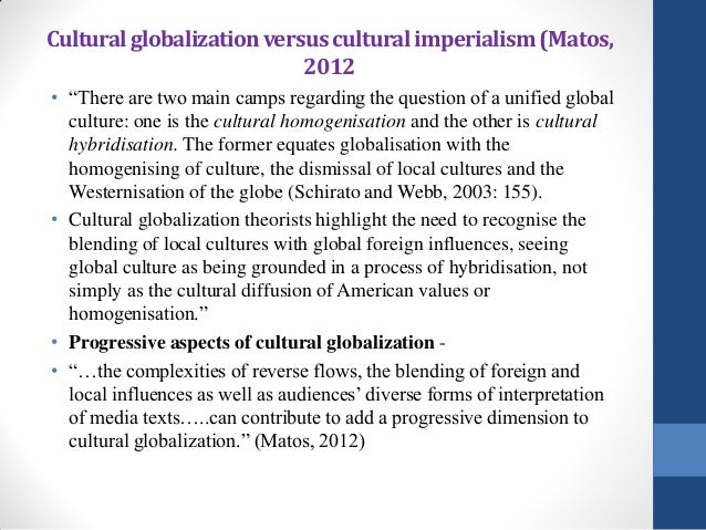cultural imperialism thesis An example of cultural imperialism would be the proliferation of american businesses in china the influence of large corporate chains has changed the face of modern chinese cities, as they try to emulate us cities with large apartment buildings and corporate food chains at the cost of historical .