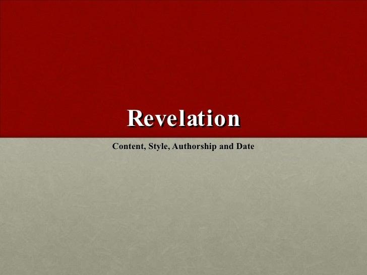 Wk3 Revelation (Content, Style And Authorship)