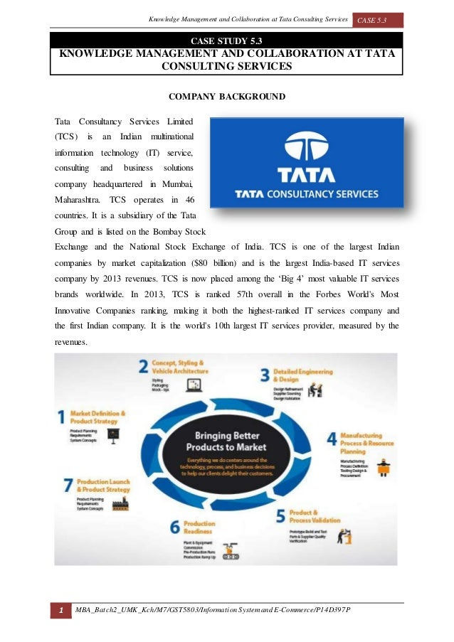 knowledge management and collaboration at tata consulting services 1 knowledge management and collaboration at tata consulting services 2 company background tata consultancy services (tcs) founded in 1968 in india an it-services, business solution and outsourcing organization.