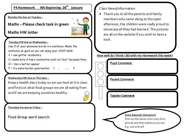 P4 Homework           Wk Beginning: 28th January           Class News/Information                                         ...