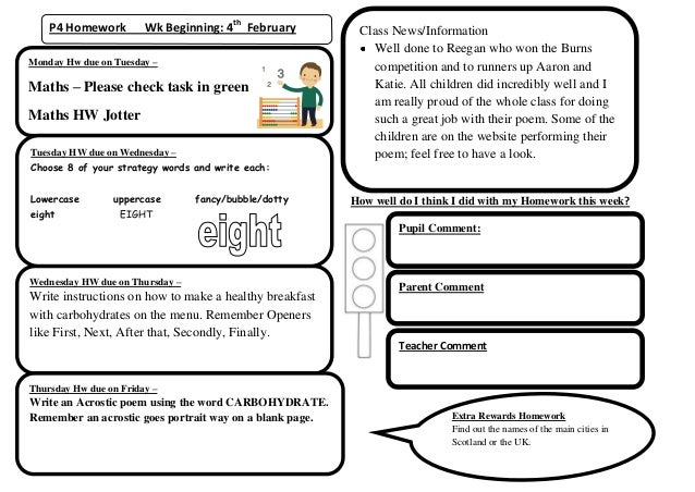 P4 Homework         Wk Beginning: 4th February         Class News/Information                                             ...