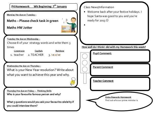 P4 Homework          Wk Beginning: 7th January            Class News/Information                                          ...