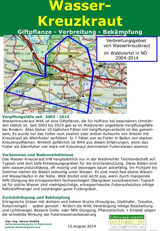 Wasser- Kreuzkraut Giftpflanze - Verbreitung - Bekämpfung Dipl.-Ing. Johann HUMER Futterwiesenexperte in Österreich johann...