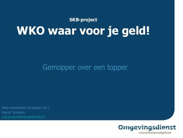 SKB-project  WKO waar voor je geld! Gemopper over een topper  WKO-manifestatie 30 oktober 2013 Patrick Teunissen p.teuniss...