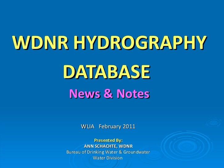 WDNR Hydrography Geodatabase